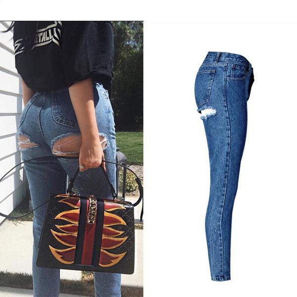 Super Sexy Butt Ripped Buraco Jeans Slim Fit Mulheres Jeans Cintura Alta Exposta Quadris Moda Denim Mulheres Namorado Skinny Femme