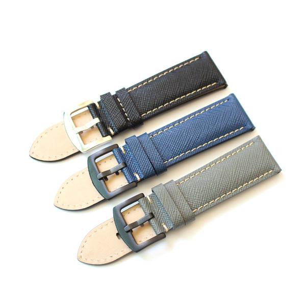 2019 Cinturini dell'orologio in vera pelle fatti a mano 20mm 22mm Cinturino universale nero 24mm Cinturino nero per orologio di marca