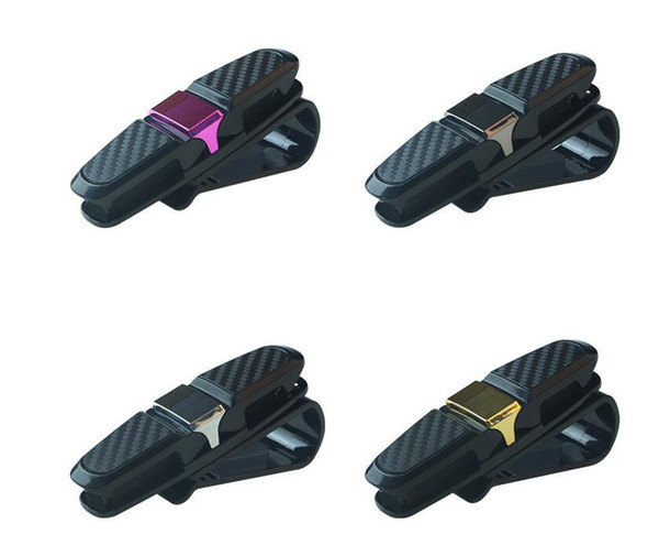 Самая дешевая !!! Car Visor Солнцезащитные очки Очки Держатель клипса двойные очки крючки черный золотой розовый Организация домашнего хранения