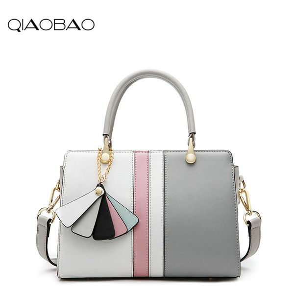 QIAOBAO Messenger shoulder bag Korean version Genuine Leather minimalist platinum bag hit the color leather handbag ladies