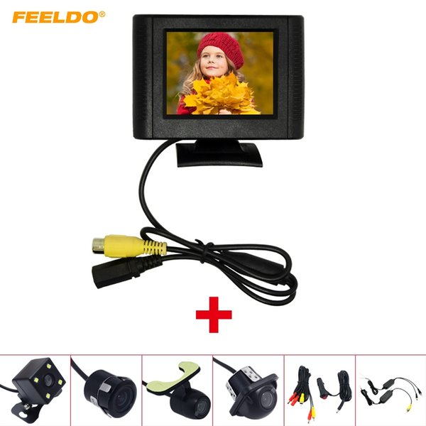 FEELDO Car 2.5 Inch LCD TFT Monitor With Rear View Parking Camera RCA Video System 2.4G Wireless & Cigarette Lighter Optional #4317