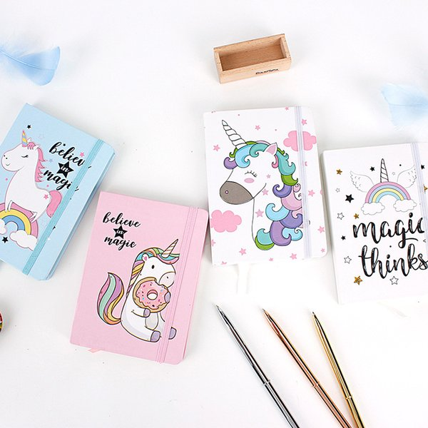Cartoon Unicorn A5 A6 A7 Hard Cover Kawaii Planner Notepad Notebook Office Stationery Cute Line Inner Page Chancery Supplies