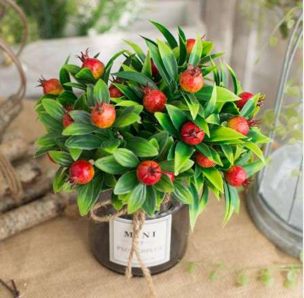 Artificiale albero di bacche di bacche di melograno con foglia di frutta finta fiori di ciliegio fai da te decorazione di nozze decorazioni per la casa piante corona