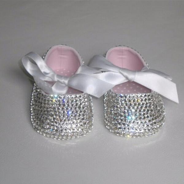 Benutzerdefinierte funkeln bling kristalle strasssteine babyschuhe säuglings 0-1y band prinzessin satin bella ballerina schuhe