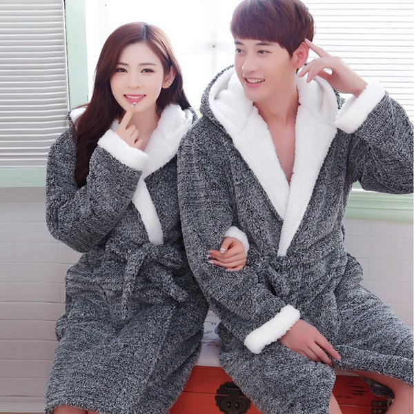 Flannel Hooded Couples Bathrobes bridesmaid robes Winter Dressing Gowns For Women Men nightgowns Kimono Long Robe Home Clothes