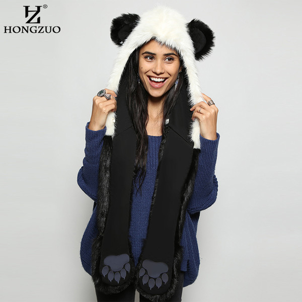 HONGZUO 2017 Winter Fashion Warm Panda Animal Faux Fur Hat Scarf Mittens Ears and Paws Cap Scarf Shawl Gloves Sets PC187