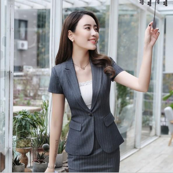 Black Blue Gray Striped Short Sleeve Blazer and Mini Skirt Ladies Summer Business Skirts Suit For Women Slim Blazer Suits 4XL