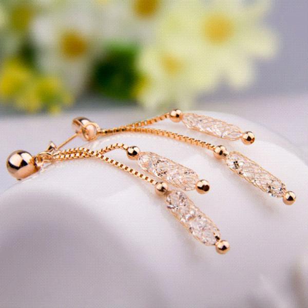 Großhandel Bamoer Luxus Champagner Gold Farbe Ohrringe Draht Zirkon ...