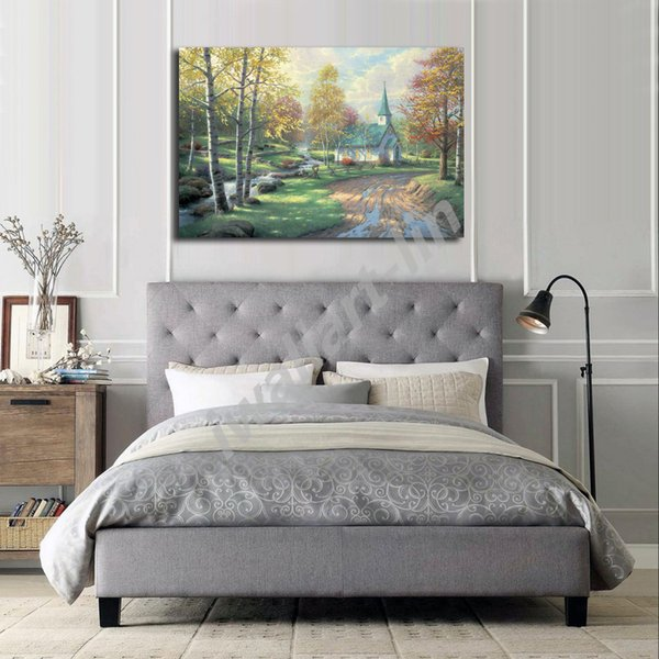 Thomas Kinkade Aspen Chapel Poster Canvas Painting Oil Framed Wall Art Print Pictures For Living Room Home Decoracion