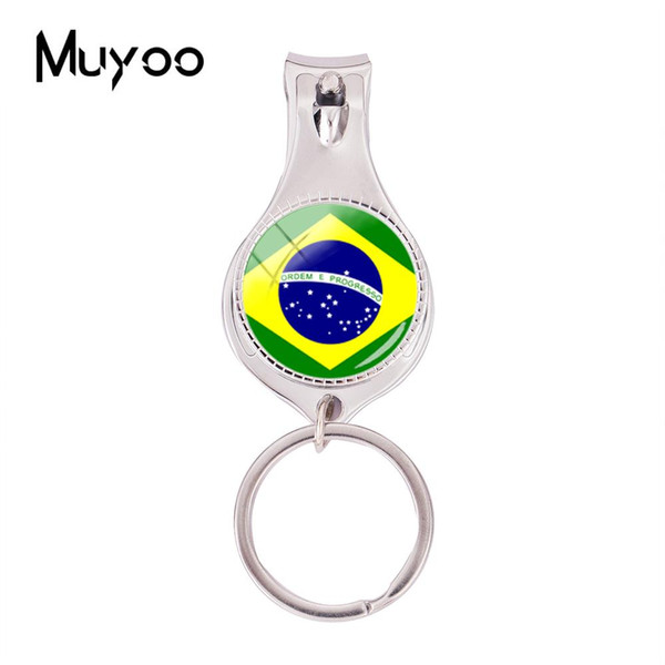 2018 Fashion Flag Of Brazil Multifunctional Keychain Silver Handmade Nail Clipper Keyring Glass Photo Jewelry Nail Clippers