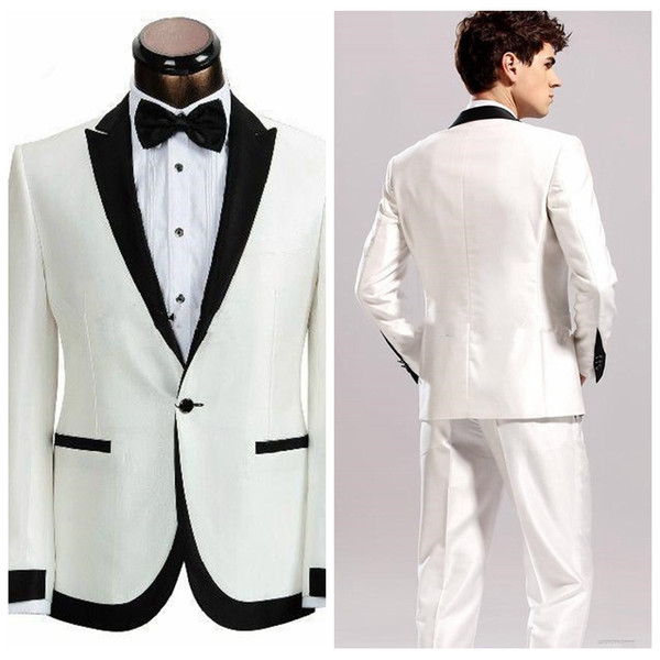White And Black Groom Wedding Tuxedos Formal Groom Wear Groomsman Suit Best Fitted Business Suits With Perked Lapel 2019 (Jacket+Pant+Tie)