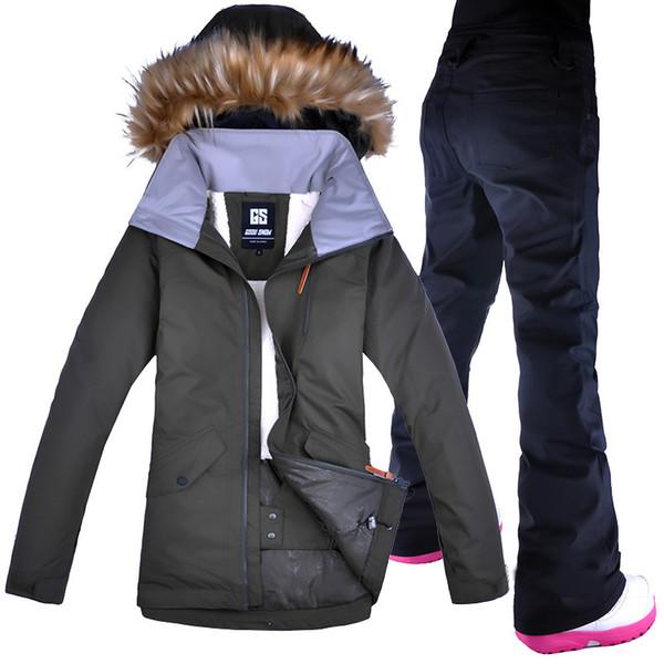 Ski Suit Women Gsou Snow Windproof Waterproof Female Snow Pants set Skiing And Snowboarding Ski Jacket Breathable Sport Jackets