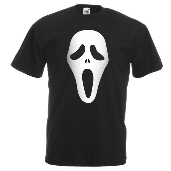 Mens Black Scream Fantôme Visage T-shirt Effrayant Film Halloween Horreur Coton Mode Livraison Gratuite À Manches Courtes Hip Hop top tee