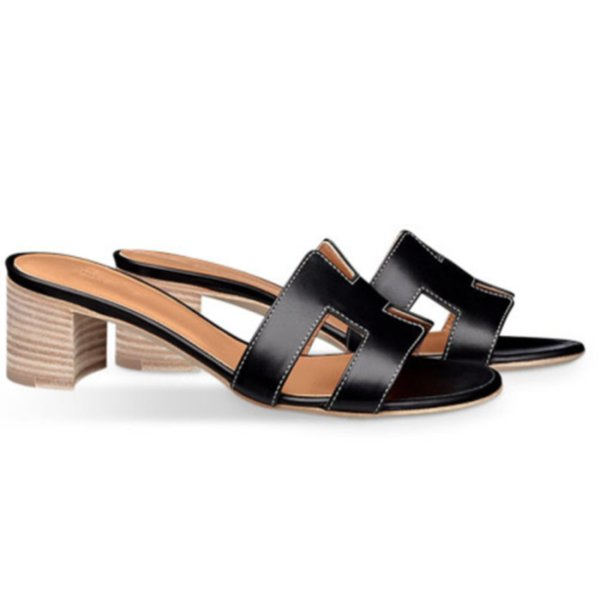 Hakiki Deri Kadın Terlik Yüksek Kalite Buzağı Deri Splice Sandalet Terlik Bayanlar için 5 cm Lüks Tasarımcı Ayakkabı