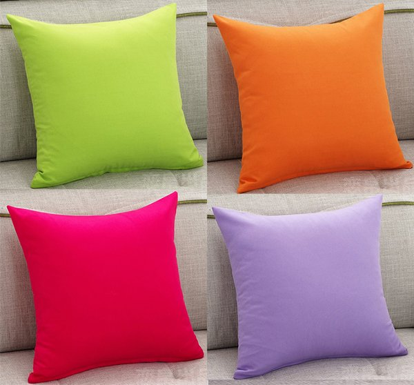 4 Styles Solid Color Sofa Cushion Covers Orange Hot Pink Purple Green Pure  Color World Throw Pillow Case Bedroom Decorative Cushion Cover Sunbrella ...