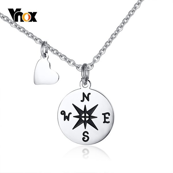 Vnox Compass Necklaces for Best Friend Gift Stainless Steel Small Dainty Pendant for Travel Long Distance Graduation Accessories