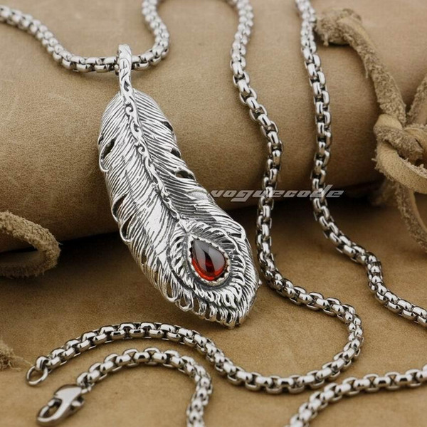 LINSION Huge 925 Sterling Silver Feather Red CZ Mens Biker Pendant 9J003 Stainless Steel Necklace 24 inches