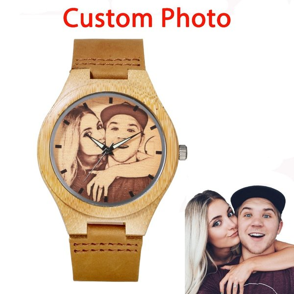 Custom Brand Your Own Photo Watch Unique Bamboo Wood Leather Causal Quartz Men Watches Customized Logo Birthday Gift For Lovers Y1892107