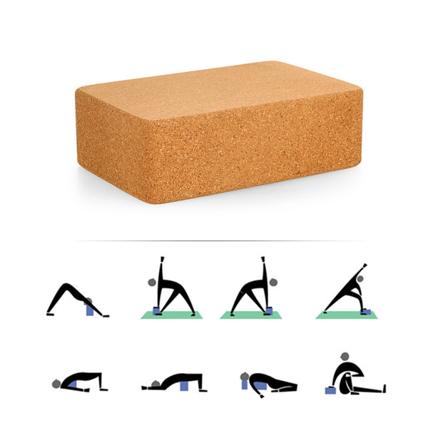 Cork Wood Yoga Block Brick Pilates Sports Exercise Gym Workout Stretching Aid Body Shaping Health Training Fitness Equipment