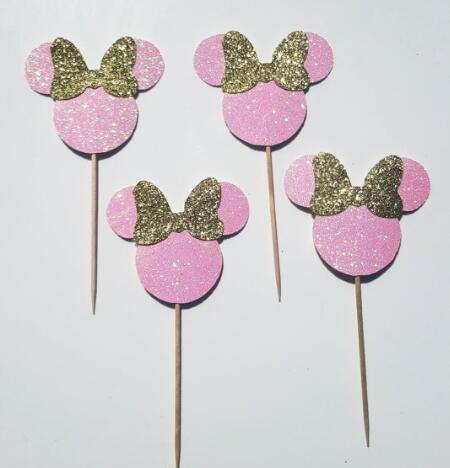 Großhandel Glitter Süße Maus Dessert Buffet Geburtstag Cupcake Toppers Hochzeit Taufe Geschlecht Reveal Party Decor Essen Behandelt Picks Von