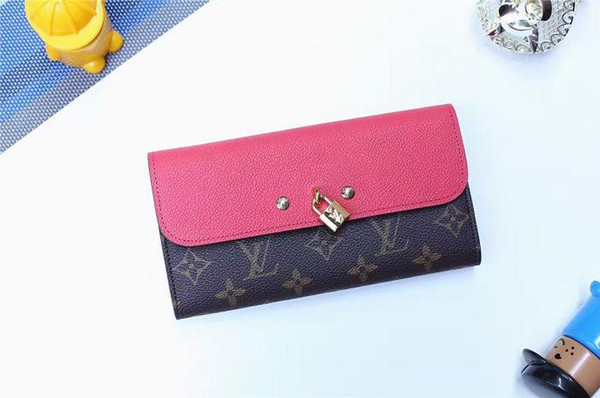 VENUS wallet M61834 engraved padlock wallet WALLETS OXIDIZED LEATHER CLUTCHES EVENING LONG CHAIN WALLETS COMPACT PURSE