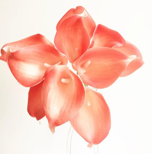 Plastique 30pcs Callas lis artificiel lys bleu coeur / coeur pourpre lys calla fleur pour mariage bouquet de mariée fleurs décoratives