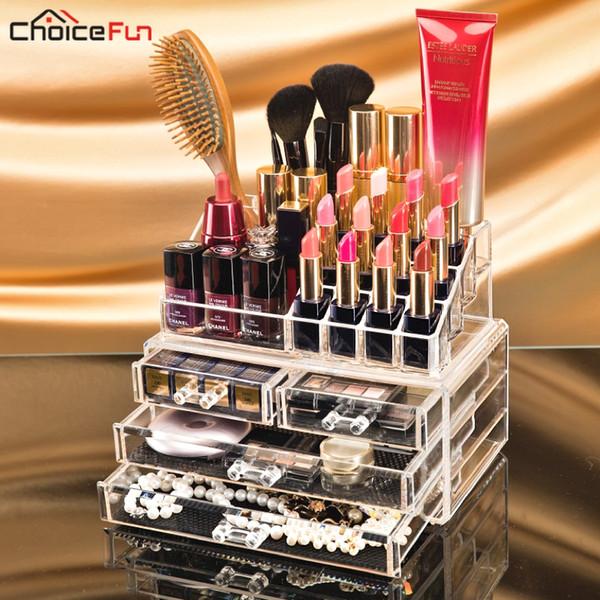 Transparent Plastic Home Drawer Desk Desktop Storage Box Organiser Clear Acrylic Makeup Make Up Organizer For Cosmetic