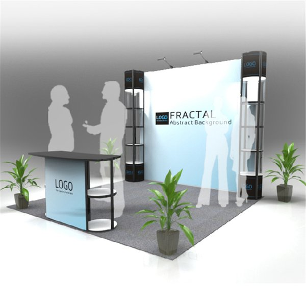 Standard 10ft*10ft Exhibition Stand Trade Fair Display Backwall Economic Company Trade Show Booth With Portable Carry Bags (E01B5)
