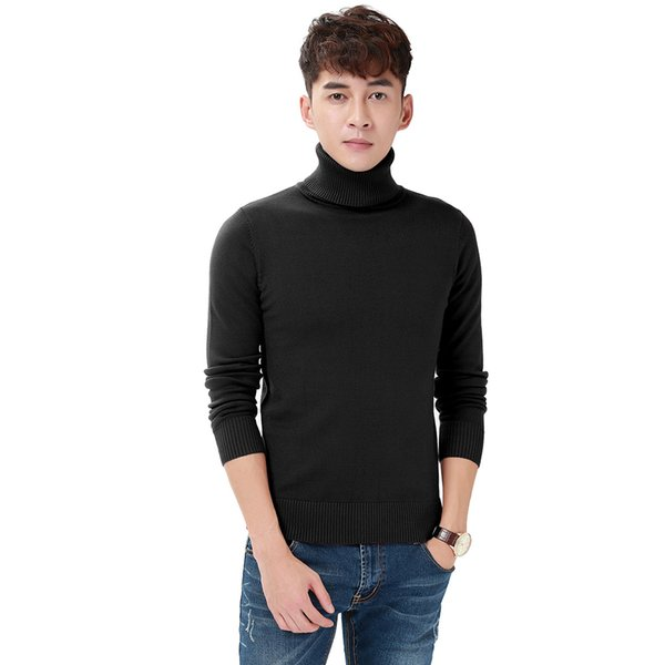 2018 New Arrival Men Casual Pullovers Sweaters Knitted Sweater Autumn Loose Plain Turtleneck Sweaters 4 Colors Fashion City