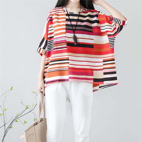Summer Loose Linen T Shirt Causal Women Striped T shirt Plus Size Women Tops Vintage High Low Loose Tee