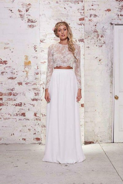 Free Shipping 2018 Beach Summer A Line Wedding Dresses Two Piece Chiffon Long Sleeves Lace Bridal Gown