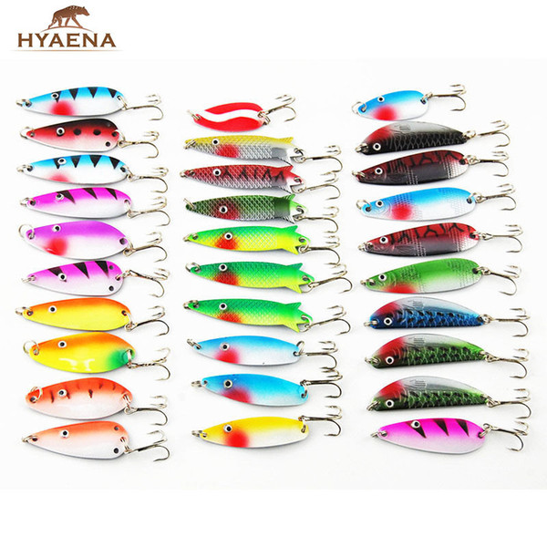 30pcs/lot Mixed Color/Size/Weight Spinner Metal Fishing Lures Baits Crankbait Assorted Trout Spoon Spinner Bait