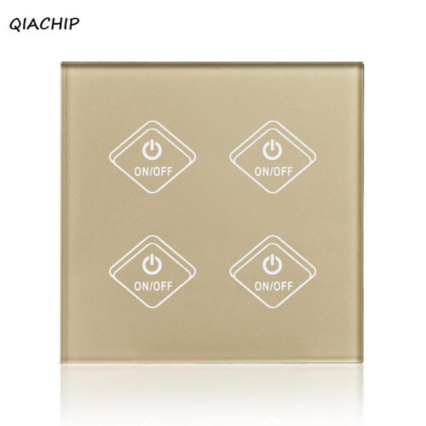 UK Plug WiFi Smart Switch 4 Gang Light Wall Switch Gold Crystal Waterproof Tempered Glass Panel Touch Screen For Amazon Alexa