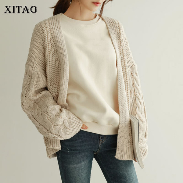 [XITAO] Autumn 2018 Korea Fashion Women V-neck Full Sleeve Sweaters Female Cardigans Solid Color Casual Knitted Sweater GWY2481