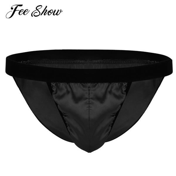 Gay Mens Low Rise Lingerie Sissy Briefs Panties Underwear Shiny Fabric High Cut Bikini Briefs Panties Underwear with Bulge Pouch
