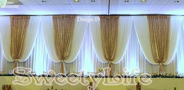 10ft x 20ft Branco cenário de casamento com lantejoulas de ouro swins bonito palco de casamento Cortina Adereços Do Partido