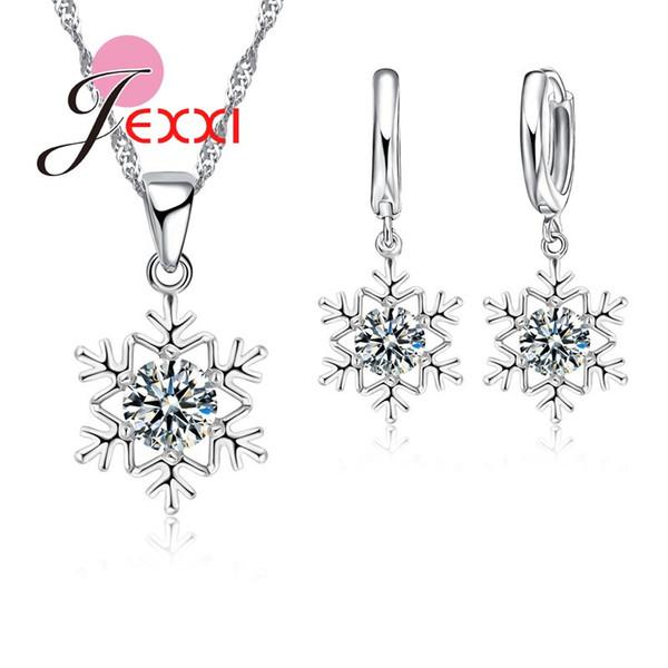 PATICO Luxury Women Wedding Bridal Jewellery Set 925 Sterling Silver Snow Shape Zircone Collana di cristallo Orecchini Set di gioielli