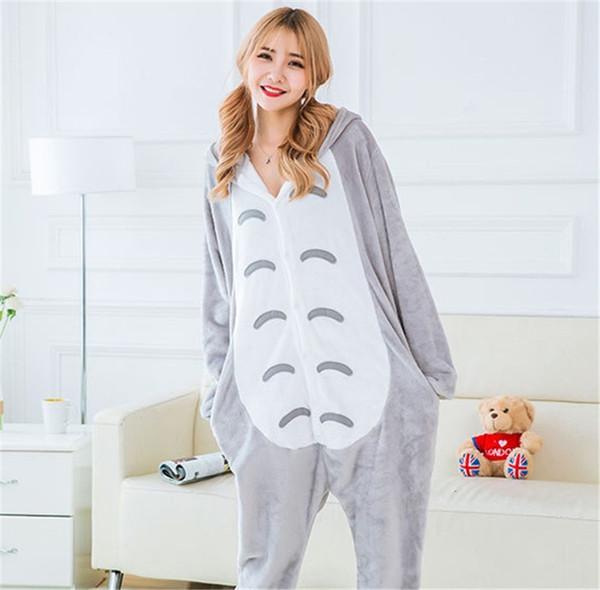 Женщины фланель пижамы пижамы мультфильм животных Тоторо сиамские пижамы для женщин Женский Леди пижамы одежда