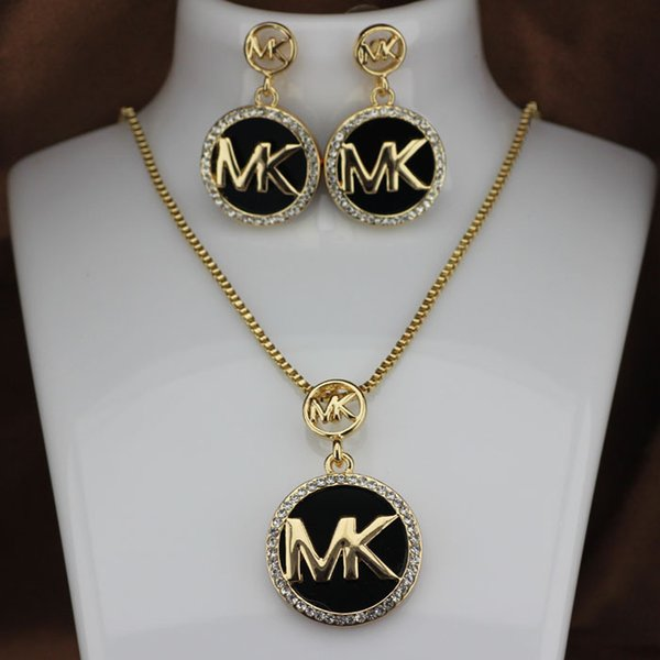 Fashion M brand Necklace Stud Earrings Set Necklace Woman Full diamond flashing letter earrings