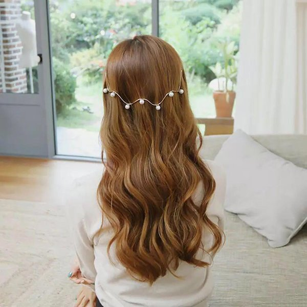 Niñas de imitación de la perla de la onda de la hebilla de la hebilla del pelo del pelo hermoso banda de pelo tocados Head Hoop Princesa Accesorios Tiara