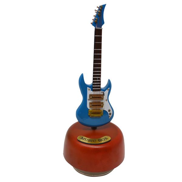 Free Shipping Hand-made Arts Mini Guitar Model Music Box Wooden Guitar Rotating Musical Box