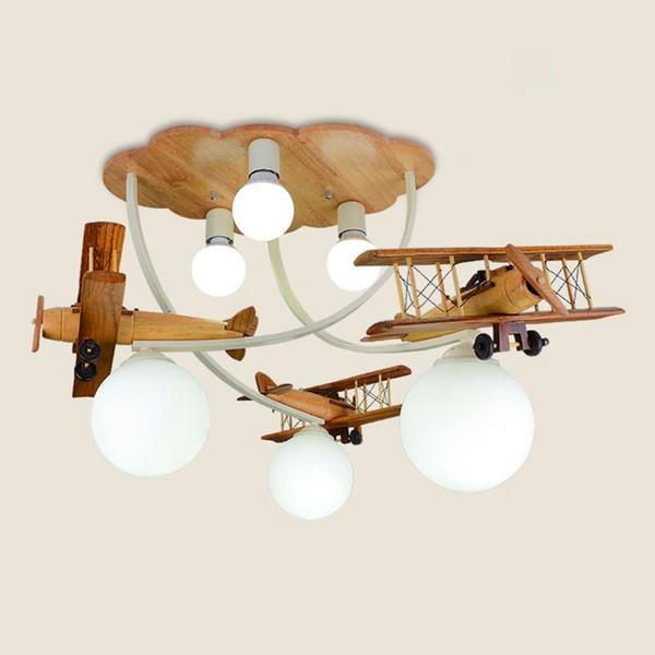 Großhandel Cartoon Holz Flugzeug Deckenleuchten Kreative Kinderzimmer Baby  Zimmer Deckenleuchte Jungen Zimmer Schlafzimmer Deckenleuchte Von Oovov, ...