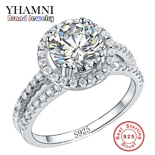 X905Big Sale Fashion Jewelry Ring Have S925 Stamp Real 925 Sterling Silver Ring Set 2 Carat CZ Diamant Wedding Rings for Women R510
