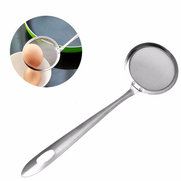 Round Network Stainless Steel Colander Spoon Filter Oil Filter Grid Scoop Wholesale Free Shipping 30RJL24 #U1
