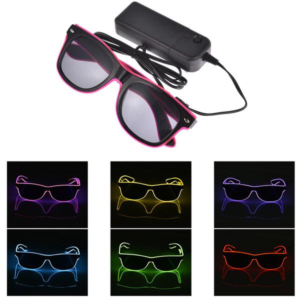 Gafas LED parpadeantes EL Alambre Gafas LED Suministros de fiesta resplandecientes Iluminación Regalo de la novedad Festival de la luz brillante Resplandor gafas de sol