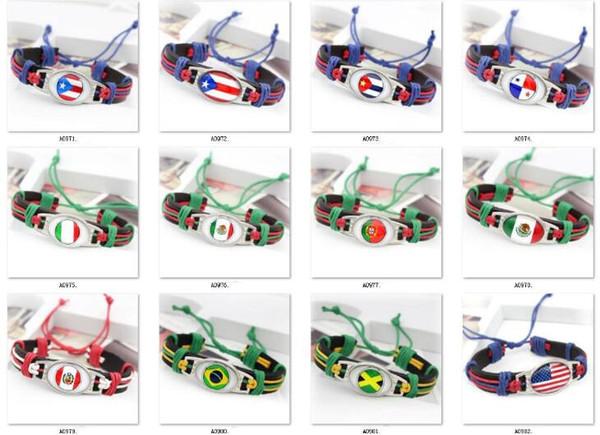 20pcs/lot Time gem bracelet National flag, the United States, Brazil, Portugal, France, Germany, Italy, England Leather bracelet