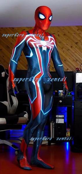 Neue Stile PS4 Geschwindigkeit Spiderman Cosplay Kostüm 3D Print Spandex Zentai Anzug Spiel Superhero Catsuit Für Männer / Mädchen / Custom made