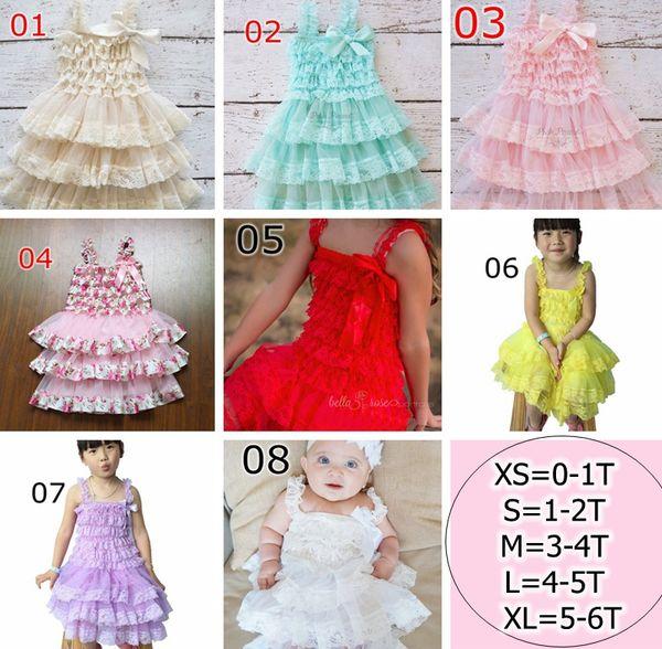 8colors 0-6Y baby girl infant toddler lace ruffle tutu dress princess flower floral tutu dress zig zag strap cake jumper satin bowknot