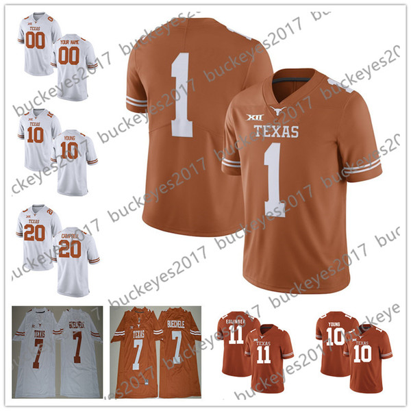 Custom Texas Longhorns Any Name Any Number Personalized Stitched NCAA College Football Jerseys #7 Gilbert 10 Young 12 McCoy 20 Campbell