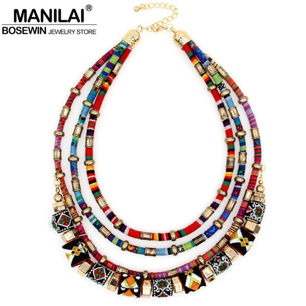 whole saleMANILAI Latest Women Multilayer Statement Necklace Boho Choker Chains Ball Handmade Collar Maxi Necklaces & Pendants Big Jewelry